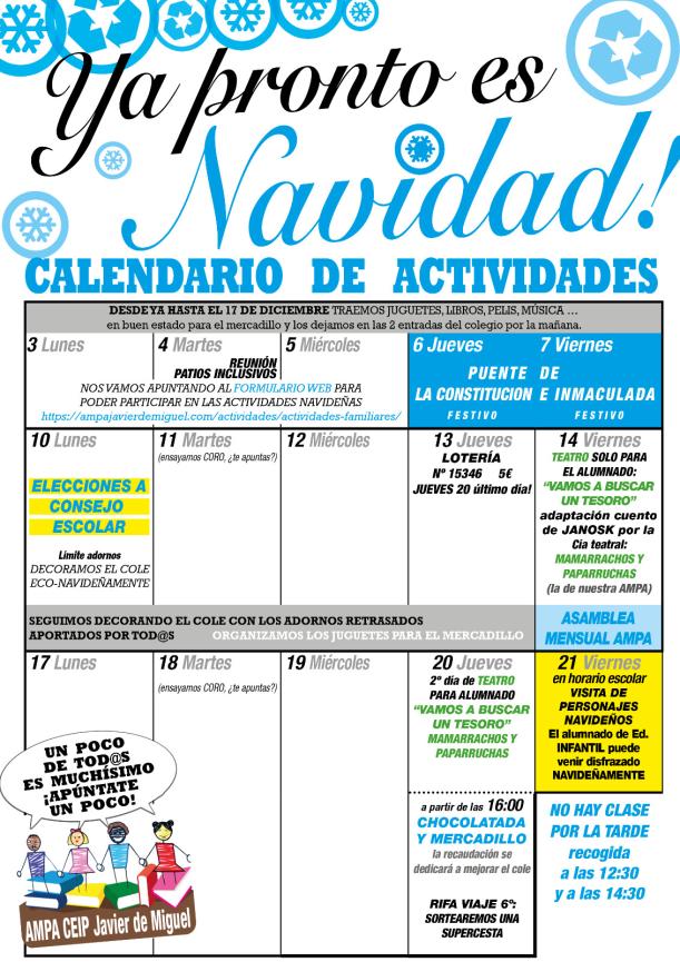 calendario de las navidades ampa 2018-2019